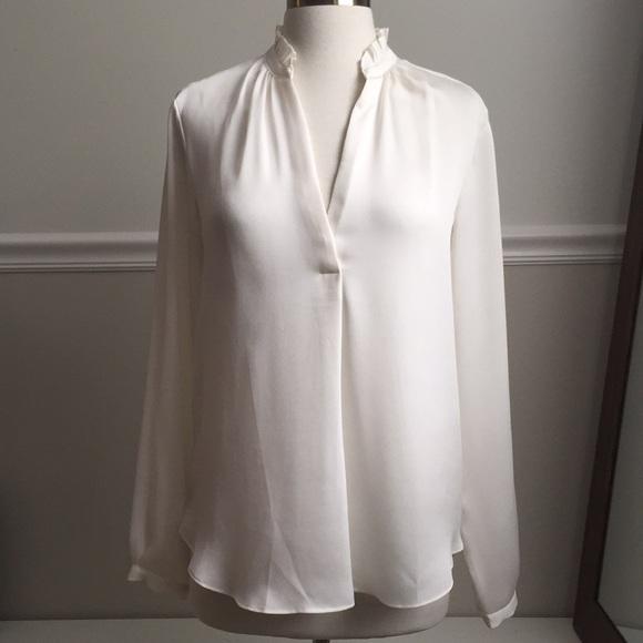 db4f15d1c1fe71 Ann Taylor Tops | White Silk Blouse W Ruffle Collar | Poshmark